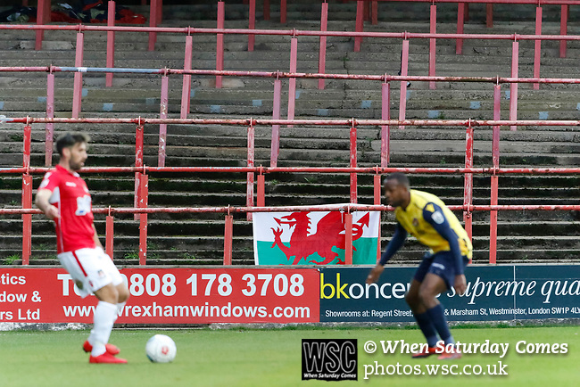 Wrexham 2 Ebbsfleet United 0, 18/11/2017. The Racecourse Ground, National League. A Wrexham banner in the Kop end of the Racecourse Ground. Photo by Paul Thompson.