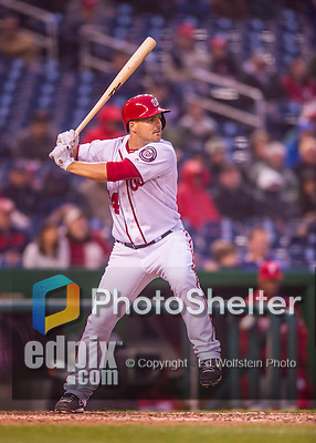 28 April 2016: Washington Nationals outfielder Chris Heisey pinch hits in the 8th inning against the Philadelphia Phillies at Nationals Park in Washington, DC. The Phillies shut out the Nationals 3-0 to sweep their mid-week, 3-game series. Mandatory Credit: Ed Wolfstein Photo *** RAW (NEF) Image File Available ***