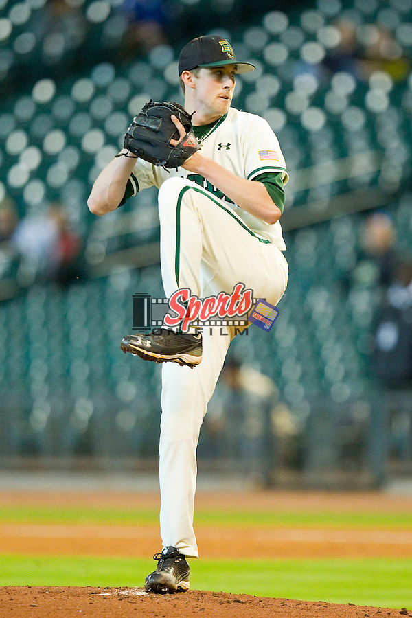 Starting pitcher Trent Blank #22 of the Baylor Bears winds up against the Utah Utes at Minute Maid Park on March 5, 2011 in Houston, Texas.  Photo by Brian Westerholt / Four Seam Images