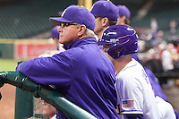 LSU Tigers Head Coach Paul Mainieri (1) watches from the dugout during the NCAA baseball game against the Houston Cougars on March 6, 2015 at Minute Maid Park in Houston, Texas. LSU defeated Houston 4-2. (Andrew Woolley/Four Seam Images)