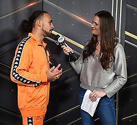 BROOKLYN - JANUARY 24: Boxer Keith Thurman is interviewed by Fox Sports' Heidi Androl following a press conference for the January 26 PBC on FOX fight card at Barclays Arena on January 24, 2019, in Brooklyn, New York. (Photo by Frank Micelotta/Fox Sports/PictureGroup)
