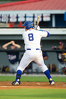 Chase Vallot (8) of the Burlington Royals at bat against the Elizabethton Twins at Burlington Athletic Park on June 25, 2014 in Burlington, North Carolina.  The Twins defeated the Royals 8-0. (Brian Westerholt/Four Seam Images)
