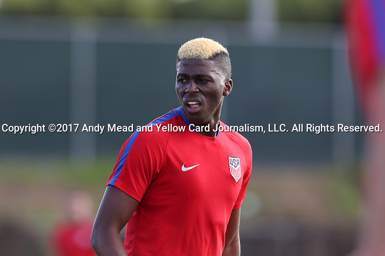 11 January 2017: Gyasi Zardes. The United States Men's National Team held their first training session under new head coach Bruce Arena on The Murphy Family Field at the StubHub Center in Carson, California.