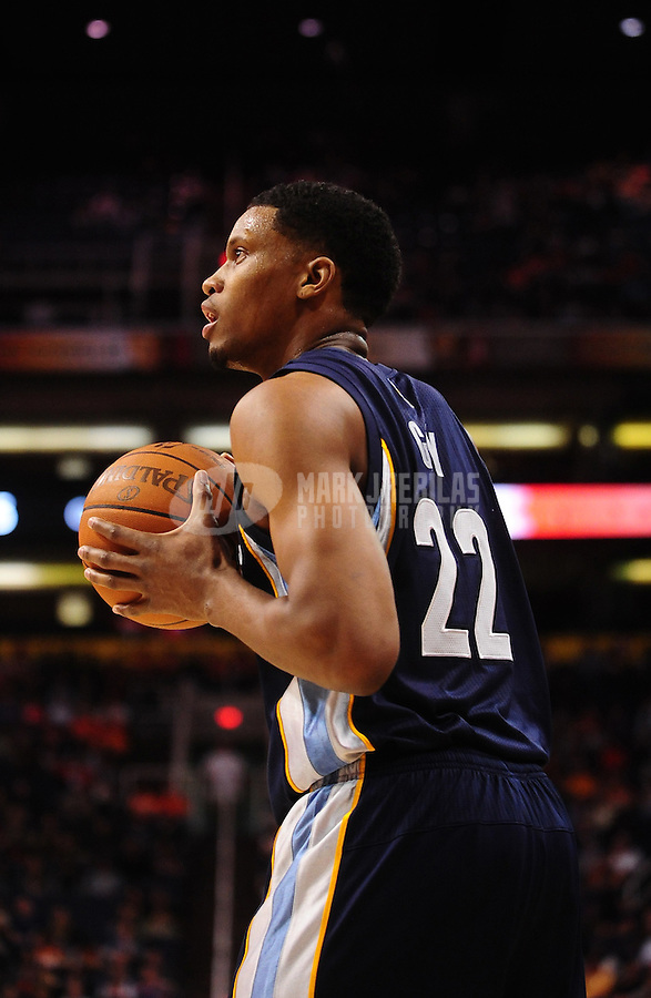 Dec. 8, 2010; Phoenix, AZ, USA; Memphis Grizzlies forward (22) Rudy Gay against the Phoenix Suns at the US Airways Center. Memphis defeated Phoenix 104-98 in overtime. Mandatory Credit: Mark J. Rebilas-