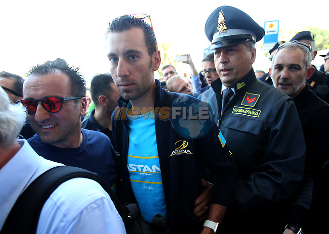 Vincenzo Nibali (ITA) Astana arrives at the airport of Lamezia Terme in the far south of Italy, and then Catanzaro, the start town for Stage 4 tomorrow, The Netherlands. 9th May 2016.<br /> Picture: ANSA/Matteo Bazzi | Newsfile<br /> <br /> <br /> All photos usage must carry mandatory copyright credit (&copy; Newsfile | ANSA/Matteo Bazzi)
