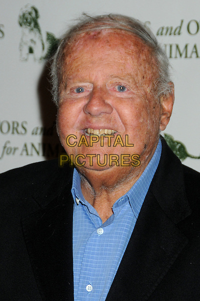 DICK VAN PATTEN .Actors and Others For Animals 40th Anniversary Fundraising Luncheon Honoring Betty White held at the Universal Hilton Hotel, Universal City, California, USA, 9th April 2011..portrait headshot blue shirt smiling black .CAP/ADM/BP.©Byron Purvis/AdMedia/Capital Pictures.