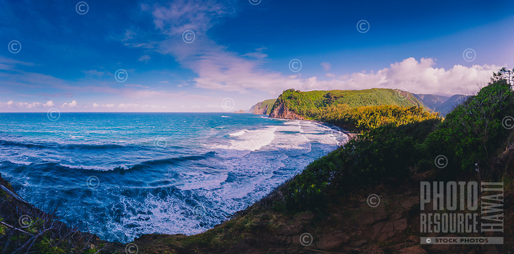 A wide-angle view of Pololu Bay and Valley on the North Kohala coastline of the Big Island.