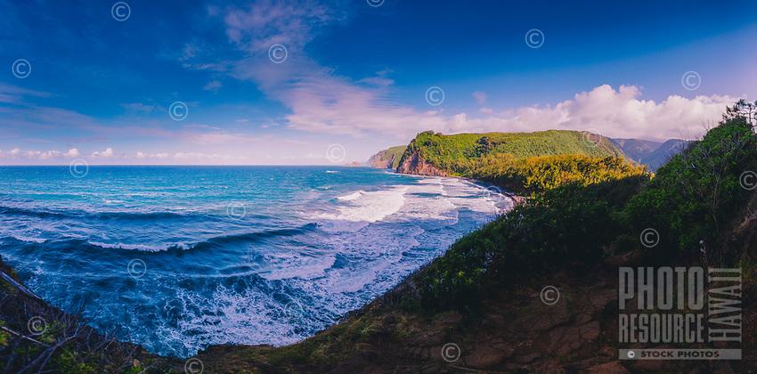 A wide-angle view of Pololu Bay and Valley on the North Kohala coastline of the Big Island.