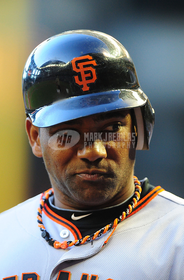 Jun. 15, 2011; Phoenix, AZ, USA; San Francisco Giants shortstop Miguel Tejada against the Arizona Diamondbacks at Chase Field. Mandatory Credit: Mark J. Rebilas-