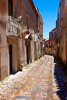 Narrow lanes of Érice, Erice, Sicily stock photos.