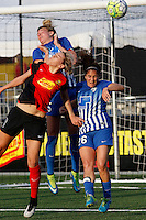 Rochester, NY - Friday May 27, 2016: Western New York Flash midfielder Alanna Kennedy (8) goes up for a header with Boston Breakers midfielder Angela Salem (26) and defender Kassey Kallman (5). The Western New York Flash defeated the Boston Breakers 4-0 during a regular season National Women's Soccer League (NWSL) match at Rochester Rhinos Stadium.