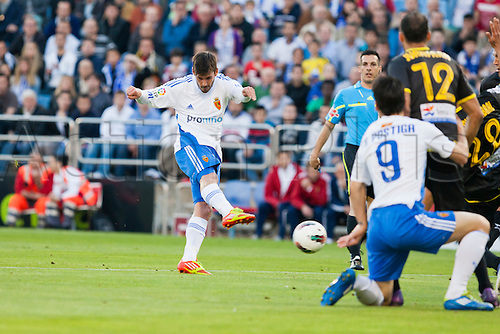 02.05.2012 Zaragoza, Spain. Real Zaragoza 1 - 0 Levante,  Real Zaragoza´s  Oriol scores a goal for his team during the Spanish League match played between  Real Zaragoza and  Levante at La Romareda Stadium. .