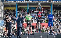 podium ceremony:<br /> 1/ Greg Van Avermaet (BEL/BMC)<br /> 2/ Zdenek Stybar (CZE/Quick Step Floors)<br /> 3/ Sebastian Langeveld (NED/Cannondale-Drapac)<br /> <br /> 115th Paris-Roubaix 2017 (1.UWT)<br /> One Day Race: Compi&egrave;gne &rsaquo; Roubaix (257km)