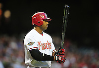 Apr. 26, 2011; Phoenix, AZ, USA; Arizona Diamondbacks first baseman Juan Miranda against the Philadelphia Phillies at Chase Field. Mandatory Credit: Mark J. Rebilas-