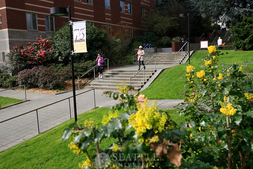 04022012-  Spring is in bloom on campus as students walk down the stairs along the Casey and Garrand Building on campus.