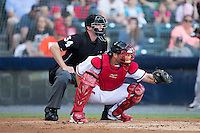 Richmond Flying Squirrels catcher Jackson Williams (8) frames a pitch as home plate umpire Alex Tosi looks on during the game against the Bowie Baysox at The Diamond on May 23, 2015 in Richmond, Virginia.  The Baysox defeated the Flying Squirrels 3-2.  (Brian Westerholt/Four Seam Images)