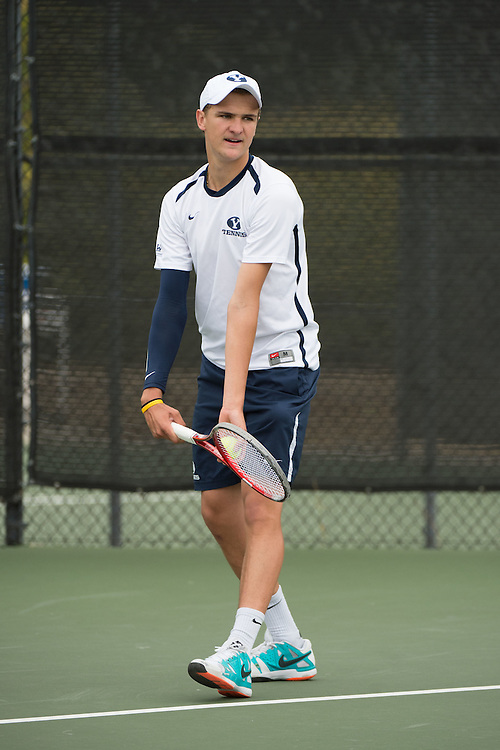 April 22, 2015; San Diego, CA, USA; BYU Cougars tennis player Aidan Carrazedo during the WCC Tennis Championships at Barnes Tennis Center.