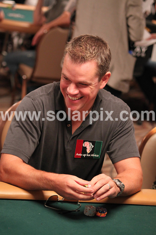 "**ALL ROUND PICTURES FROM SOLARPIX.COM**.**SYNDICATION RIGHTS FOR UK AND SPAIN ONLY**.pictured at the Charity Poker Tournament ""Ante up for Africa""  in Las Vegas, USA.  02 July 2009..This pic: Matt Damon..JOB REF: 9411 CPR (Hausmann) DATE: 02_07_2009.**MUST CREDIT SOLARPIX.COM OR DOUBLE FEE WILL BE CHARGED**.**ONLINE USAGE FEE GBP 50.00 PER PICTURE - NOTIFICATION OF USAGE TO PHOTO @ SOLARPIX.COM**.**CALL SOLARPIX : +34 952 811 768 or LOW RATE FROM UK 0844 617 7637**"