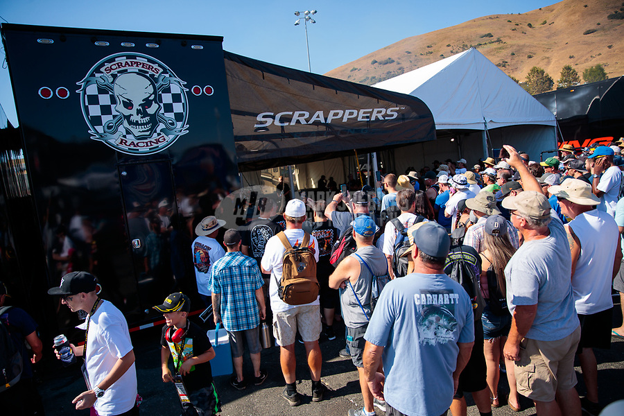 Jul 28, 2019; Sonoma, CA, USA; Fans surround the pit area of NHRA top fuel driver Mike Salinas during the Sonoma Nationals at Sonoma Raceway. Mandatory Credit: Mark J. Rebilas-USA TODAY Sports