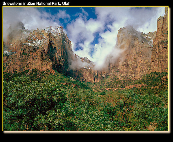 Court of the Patriarchs in a spring snowstorm, Zion National Park, Utah.<br /> Outside Imagery offers Zion National Park photo tours. Year-round Utah photo tours.