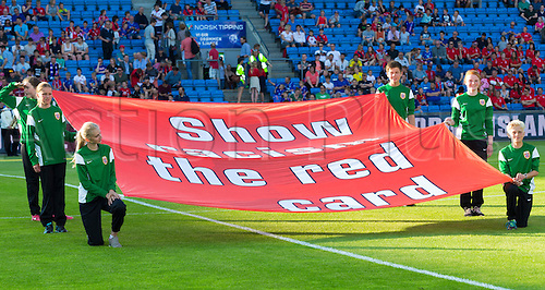 01.06.2016  Ullevaal Stadion, Oslo, Norway. A strong banner message against racism before the International Football Friendly match between Norway versus Iceland at  Ullevaal Stadion in Oslo, Norway.