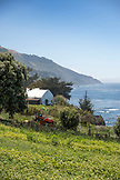 USA, California, Big Sur, Esalen, view at The Farm with the Leonard Pavillion and the Pacific Ocean in the distance, the Esalen Institute