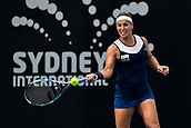 9th January 2018, Sydney Olympic Park Tennis Centre, Sydney, Australia; Sydney International Tennis, round 1; Dominika Cibulkova (SVK) hits a forehand in her match against Elena Vesnina (RUS)