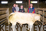 Micky O'Connor (owner, from Ventry) with his daughter Katie, John Ó Sé and Danny Boland with the Reserve Champion at the Dingle Mart on Tuesday afternoon.