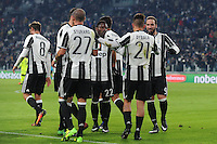 Calcio, Serie A: Juventus vs Bologna. Torino, Juventus Stadium, 8 gennaio 2017.<br /> Juventus&rsquo; Paulo Dybala, second from right, celebrates with teammates after scoring on a penalty kick during the Italian Serie A football match between Juventus and Bologna at Turin's Juventus Stadium, 8 January 2017. Juventus won 3-0.<br /> UPDATE IMAGES PRESS/Manuela Viganti