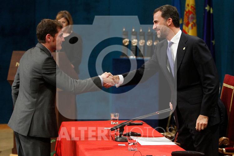 OVIEDO, Spain (22/10/2010).-  Prince of Asturias Awards 2010 Ceremony. Iker Casillas ( Sports award)..Photo: POOL / Robert Smith  / ALFAQUI