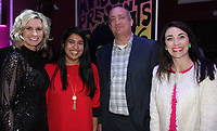 NWA Democrat-Gazette/CARIN SCHOPPMEYER Paige McCoy (from left), Gopi Patolia, Mark McEntire and Stephanie Allen, Kiss a Pig candidates, gather at the campaign kick off Jan. 24 at Meteor Guitar Gallery in Bentonville.