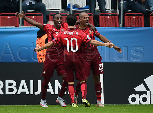 27.06.2015. Andruv Stadium, Olomouc, Czech Republic. U21 European championships, semi-final. Portugal versus Germany.  Ricardo (Portugal), Bernardo Silva (Portugal), Joao Mario (Portugal) celebrates the goal for 4:0