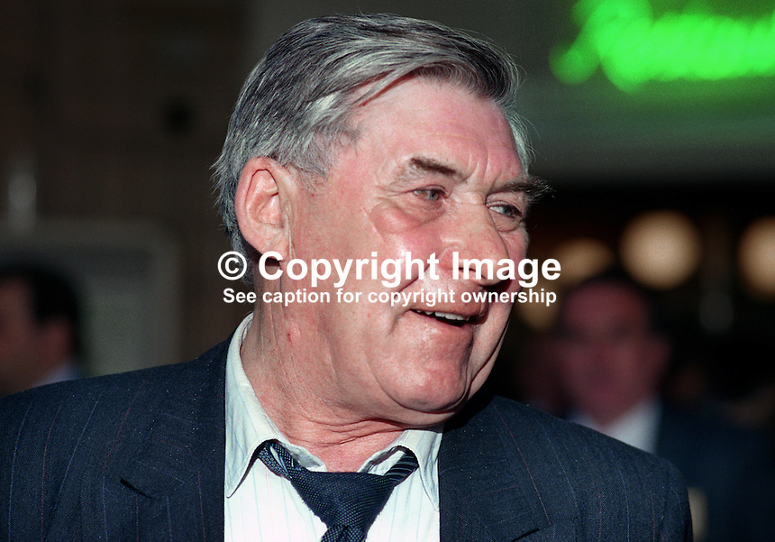 Mick McGahey, retired leader, Scottish miners, UK, 1990101009.<br />