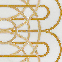 Overlapping Circles, a stone water jet mosaic, shown in Thassos, Sylvia Gold, and Persian Gold, is part of the Ann Sacks Beau Monde collection sold exclusively at www.annsacks.com