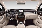 Stock photo of straight dashboard view of a 2018 Mercedes Benz GLC Coupe 350 e 5 Door SUV