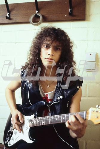 METALLICA - guitarist Kirk Hammett - backstage at The Sportsfield in Poperinge Belgium - 10 June 1984.  Photo credit: PG Brunelli/IconicPix