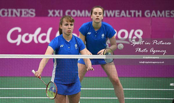 Julie MACPHERSON (SCO) serves in the womens doubles. Badminton. Mixed team event. XXI Commonwealth games. Carrara Sports hall 2. Gold Coast 2018. Queensland. Australia. 05/04/2018. ~ MANDATORY CREDIT Garry Bowden/SIPPA - NO UNAUTHORISED USE - +44 7837 394578