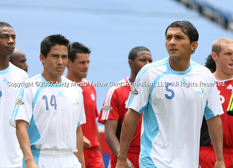 16 June 2007: Guatemala's Rigoberto Gomez (14) and Henry Medina (5). The Canada Men's National team defeated the Guatemala Men's National Team 3-0 at Gillette Stadium in Foxboro, Massachusetts in a 2007 CONCACAF Gold Cup quarterfinal.