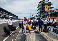 May 26, 2017; Indianapolis, IN, USA; IndyCar Series driver Fernando Alonso walks away from his car at the end of Carb Day for the 101st Running of the Indianapolis 500 at Indianapolis Motor Speedway. Mandatory Credit: Mark J. Rebilas-USA TODAY Sports