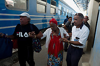 HAVANA, CUBA - JULY14: Passengers get in a new train at La Coubre station, from Havana to Santiago de Cuba, on July13, 2019. The first train start working for the cuban passenger to Santiago de Cuba, 516 miles. The new equipment made in China. (Photo by Eliana Aponte/VIEWpress)