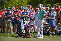 Rickie Fowler (USA) and Ian Poulter (ENG) wait to tee off on 7 during round 2 of the Arnold Palmer Invitational at Bay Hill Golf Club, Bay Hill, Florida. 3/8/2019.<br />
