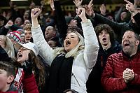 Sheffield United fans celebrate scoring the opening goal <br /> <br /> Photographer Alex Dodd/CameraSport<br /> <br /> The Premier League - Sheffield United v Manchester United - Sunday 24th November 2019 - Bramall Lane - Sheffield<br /> <br /> World Copyright © 2019 CameraSport. All rights reserved. 43 Linden Ave. Countesthorpe. Leicester. England. LE8 5PG - Tel: +44 (0) 116 277 4147 - admin@camerasport.com - www.camerasport.com