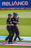 Tim Southee celebrates a wicket during the ICC Cricket World Cup one day pool match between the New Zealand Black Caps and England at Wellington Regional Stadium, Wellington, New Zealand on Friday, 20 February 2015. Photo: Dave Lintott / lintottphoto.co.nz