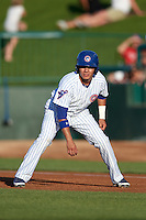 South Bend Cubs second baseman Carlos Sepulveda (2) leads off first base during a game against the Burlington Bees on July 22, 2016 at Four Winds Field in South Bend, Indiana.  South Bend defeated Burlington 4-3.  (Mike Janes/Four Seam Images)