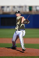 Vanderbilt Commodores pitcher Matt Ruppenthal (28) delivers a pitch during a game against the Indiana State Sycamores on February 21, 2015 at Charlotte Sports Park in Port Charlotte, Florida.  Indiana State defeated Vanderbilt 8-1.  (Mike Janes/Four Seam Images)