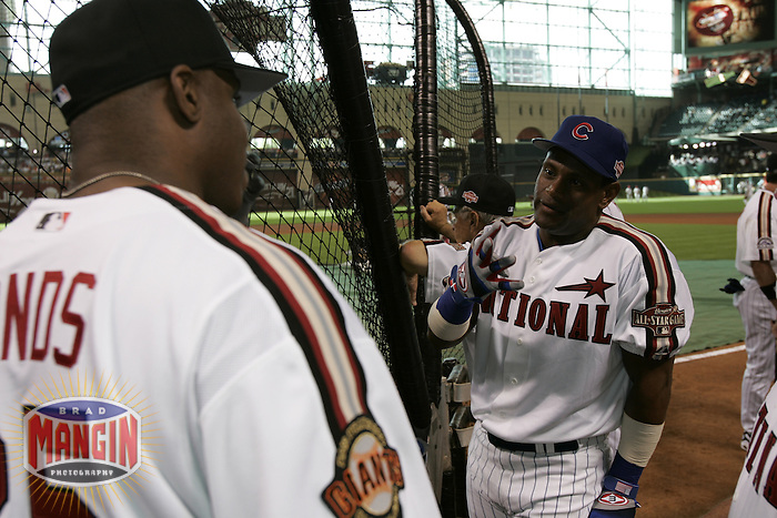 Barry Bonds and Sammy Sosa. Baseball: 2004 All Star Game Home Run Derby. Houston, TX 7/8/2004 MANDATORY CREDIT: Brad Mangin