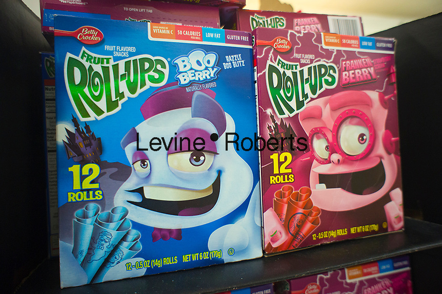 Boxes of General Mills Roll-ups featuring cartoon characters Frankenberry and Booberry on supermarket shelves on Friday, October 12, 2012. The breakfast cereals and other products have a cult following and are only available during the Halloween season. (© Richard B. Levine)