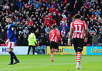 Lincoln City's Tom Pett celebrates scoring the opening goal<br /> <br /> Photographer Andrew Vaughan/CameraSport<br /> <br /> The EFL Sky Bet League Two - Lincoln City v Crewe Alexandra - Saturday 6th October 2018 - Sincil Bank - Lincoln<br /> <br /> World Copyright &copy; 2018 CameraSport. All rights reserved. 43 Linden Ave. Countesthorpe. Leicester. England. LE8 5PG - Tel: +44 (0) 116 277 4147 - admin@camerasport.com - www.camerasport.com