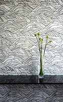 Kelp Forest, a handmade glass mosaic shown in Alabaster, is part of the Shades of Gray Collection designed by Sara Baldwin for New Ravenna.<br />
