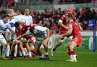 Racing 92 Camille Chat looks to get away <br /> <br /> Photographer Ian Cook/CameraSport<br /> <br /> European Rugby Champions Cup - Scarlets v Racing 92 - Saturday 13th October 2018 - Parc y Scarlets - Llanelli<br /> <br /> World Copyright &copy; 2018 CameraSport. All rights reserved. 43 Linden Ave. Countesthorpe. Leicester. England. LE8 5PG - Tel: +44 (0) 116 277 4147 - admin@camerasport.com - www.camerasport.com